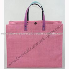 premium quality jute bag with leather handles, lining inside - custom printed to promote your brand