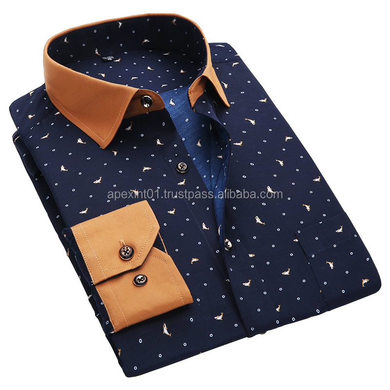 2015 button down dot fashion dress shirts for men , cutaway collar dress shirt