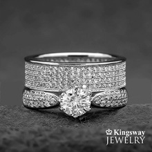 Women's 2 piece STERLING SILVER WEDDING ENGAGEMENT RINGS SET #SP24ESP24