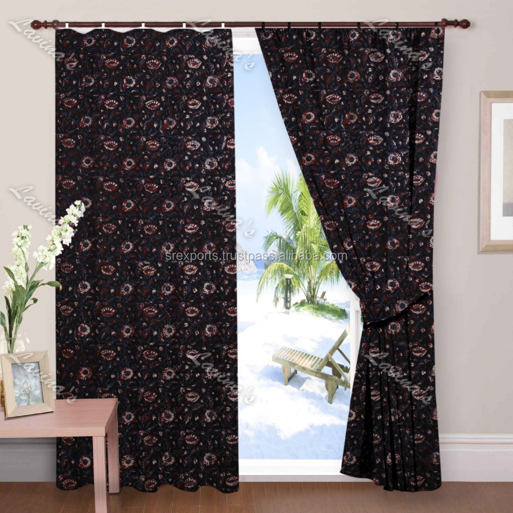 Indian hand block printed window curtain drapery panel sheet 2 PC set wall curtain