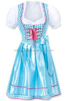 Sky Blue Silk and check Dirndl Custom Design Trachten Oktoberfest Bavarian Traditional Dirndl For Women
