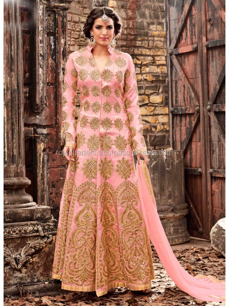 Baby Pink Fine Golden Detail Kali Embroidered Pant Suit Set