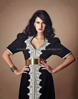Moroccan Caftan Black Colour White Embroidery Very Beautiful Dress