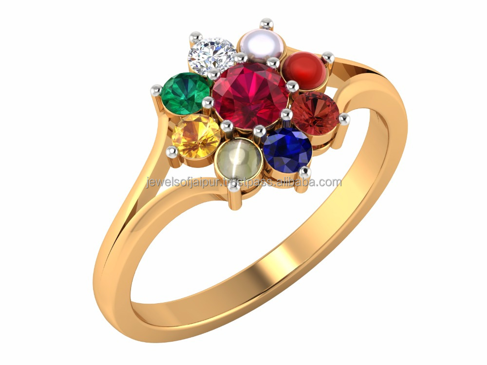 Hot Sale 18k Yellow Solid Gold Certified Diamond Ruby Coral Pearl Emerald Cats-eye Sapphire Hessonite Navratan Unisex Ring