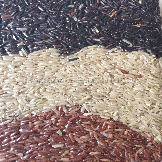 Mixed Thai Rice Natural Brown Rice , Black Rice , Red Jasmine Rice Organic Rice For Health And Beauty Pack in Vacuum Bag