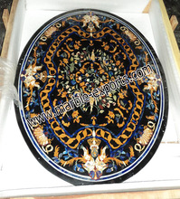 Oval Shape Black Marble Stone Inlay Pietra Dura Dining Table Top