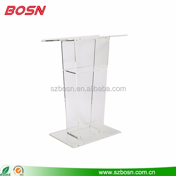 High quality modern design clear acrylic lectern plexiglass podium stand