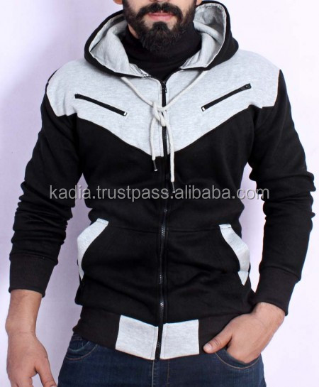 Black Stylish Hoodie With Zipper front chest Pockets