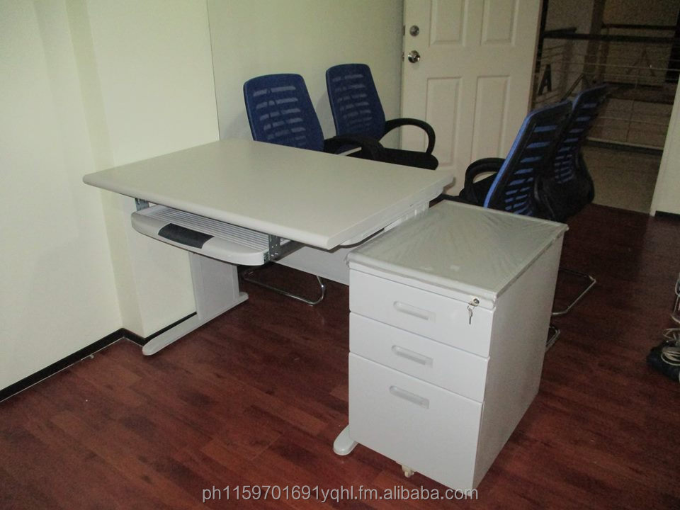 office table w/ keyboard&mobile pedestal