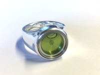 Ring of Sterling silver with spirit level, light green