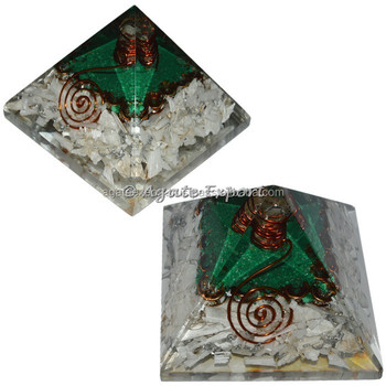 Selenite Orgone Pyramids with Crystal Point / Orogne pyramids
