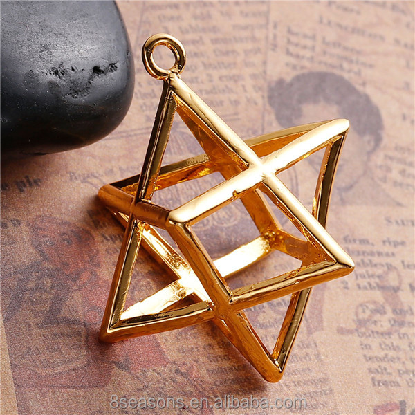 New Design Gold Plated Hollow Copper Merkaba Meditation <strong>Pendants</strong>