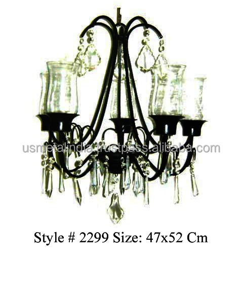 Iron Crystal Chandelier with Votive attachment