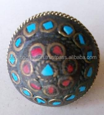 Designer Gilden brass circle on black background blue red rectangle lac ring in wholesale price