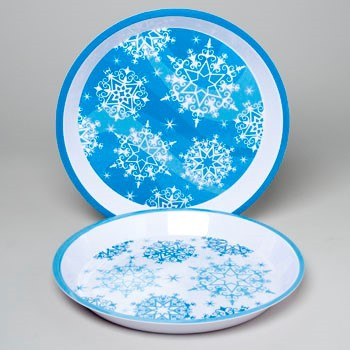SERVING TRAY ROUND MELAMINE 11.75IN 2AST SNOWFLAKE DESIGN #G91363