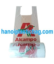 Wholesale reusable ldpe poly grocery t shirt plastic bag on roll