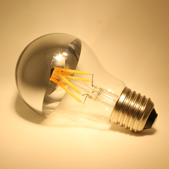 A60 A19 led crown silver light bulb Shadowless led filament bulb with Chrome mirror silver top