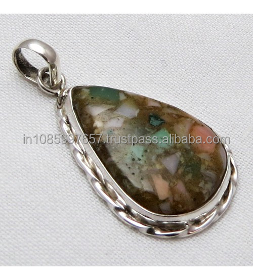 Beautiful Design Fuchsite Gemstone Pendant, Gemstone Silver Jewelry, Exporter and Wholesaller