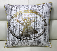 Deer Head Art Image Gold Foiled & Printed Premium Furnishing Cotton Fabric Cushion - 18 Inch Sq.