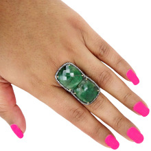 925 Sterling Silver Pave Diamond Emerald Ring Jewelry 14k Gold Gemstone Ring Jewelry Wholesale