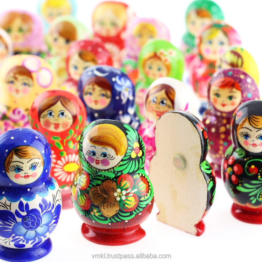 Matryoshka wooden fridge magnet, mix of souvenir magnets, handpainted tourist souvenir fridge magnet, GM01