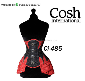 Red And Black Cotton Steelboned Waist Trainer CorsetWith Front Clasps Supplier