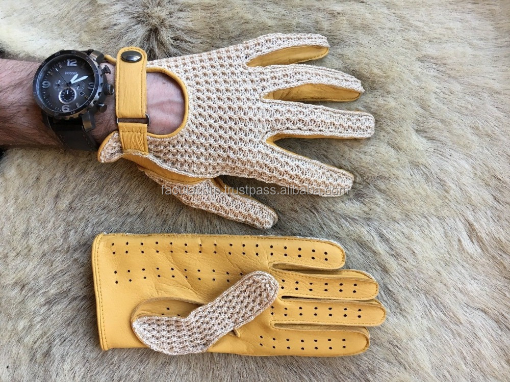 2016 Model for Men brown Car Driving Gloves Deerskin Leather Crochet top 2016 Model for Men brown