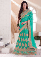 Georgette lehenga style saree - Wedding design lehenga saree in india - Function wear lehenga designer saree