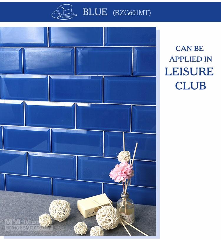 MM Mosaik Abgeschrägte Glas U Bahn Fliesen Blau Für Dusche Küche Backsplash