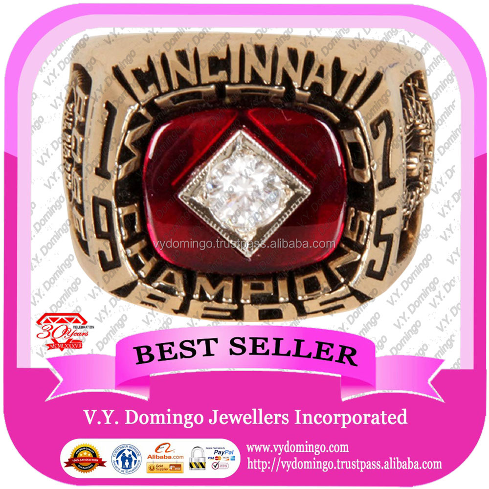 18K gold jewelry with garnet ruby gems 1975 cincinnati reds world championship rings