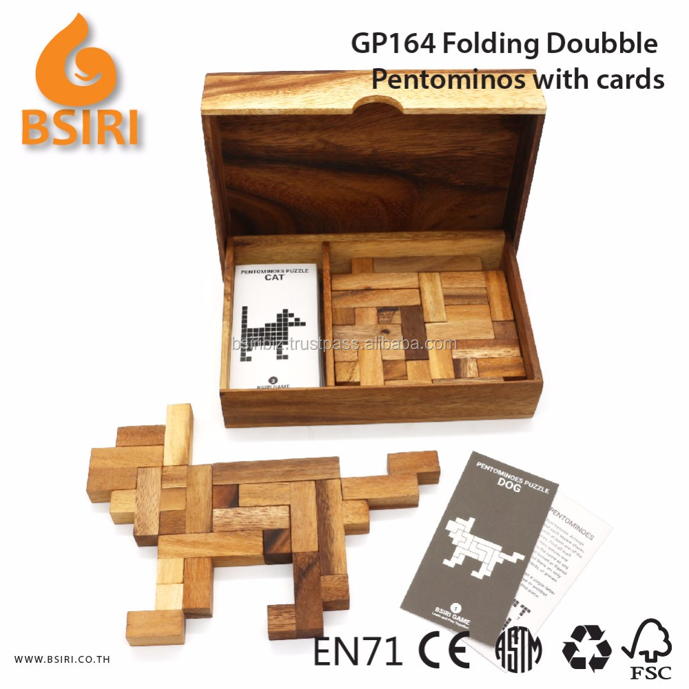 Wooden Folding Doubble Pentominos Puzzles with Cards Educational Toys