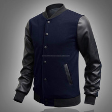 New Men's Black Coat Baseball Jacket PU Leather Sleeve