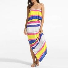 Polyester Beach backless tube printed striped white summer dress 2017
