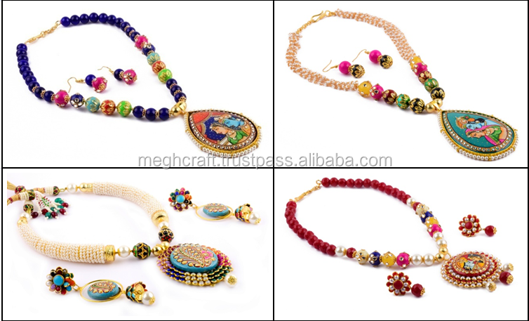 Bollywood style necklace set - Pearl Beaded Tanjore art jewellery - Pearl Necklace set - Indian hand painted Tanjore jewellery