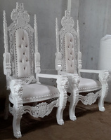 King Lion Hand Wood Carved High Back Throne King Chair White Vinyl