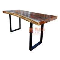 Conference Solid Wood Table Natural Shape Iron Leg