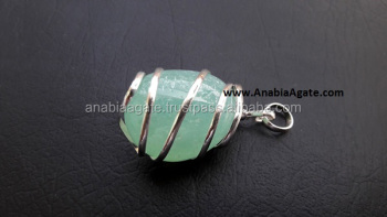 Green Onyx Gemstone Tumble wire wrraped Pendant : Wholesale Tumbel stone Pendant