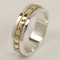 925 Sterling Silver Ring All Size TWO TONE 5 mm Wide Band ! Wholesale Supplier