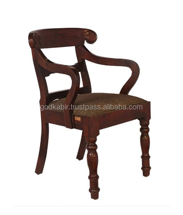 King Size solid Brown Mango Wood Kitkat Cusioned Arm Chair/Very High Choice Quality Base raw material used Stlist Pattern design