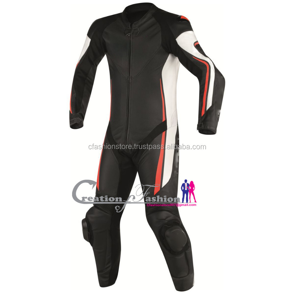 CFLMSM-1065 CBR 600 leather motorcycle racing suit assen perforated race suit black white fluo red rollover
