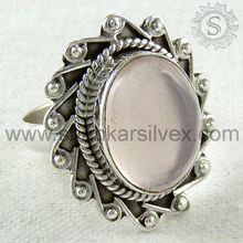 Glowing Pink Rose Quartz Ring Wholesaler 925 Sterling Silver Jewelry Wedding Special Ring India