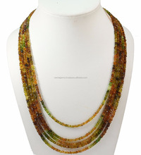 semi precious stone,petrol tourmaline rondelle faceted, 5 strand ready jewelry necklace
