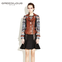 [GREEDILOUS] Print leather jacket(mint,brown) side buckle biker jacket