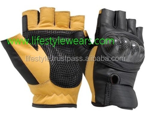 leather fingerless motorcycle glo
