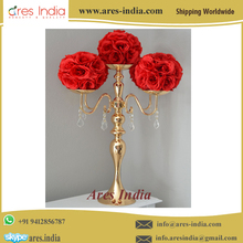 Ares India Beautiful Designer Metal Flower Vase - Home & Event Party Wedding Decoration Table Flower Centerpieces