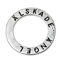 "Closed Soldered Jump Rings Washer Donut Pendants Antique Silver Message ""ALSKADE ANGEL"" Pattern Carved 23.0mm( 7/8"") Dia, 20 PCs"