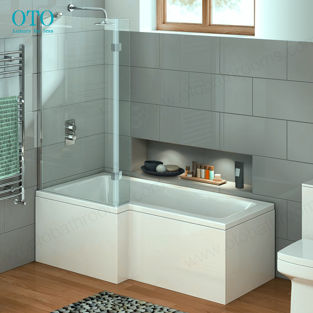 1700mm Square Left Hand L-Shaped Shower Bath With Screen (Includes Panel)