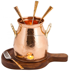 Copper Table Tandoor with Wooden Base