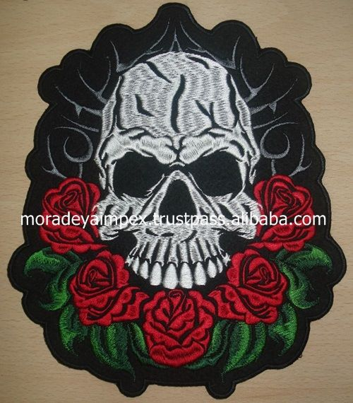 Flowers Skull Embroidery Patches Laser cut Iron on Embroidery Patches Big Size Embroidery Patches