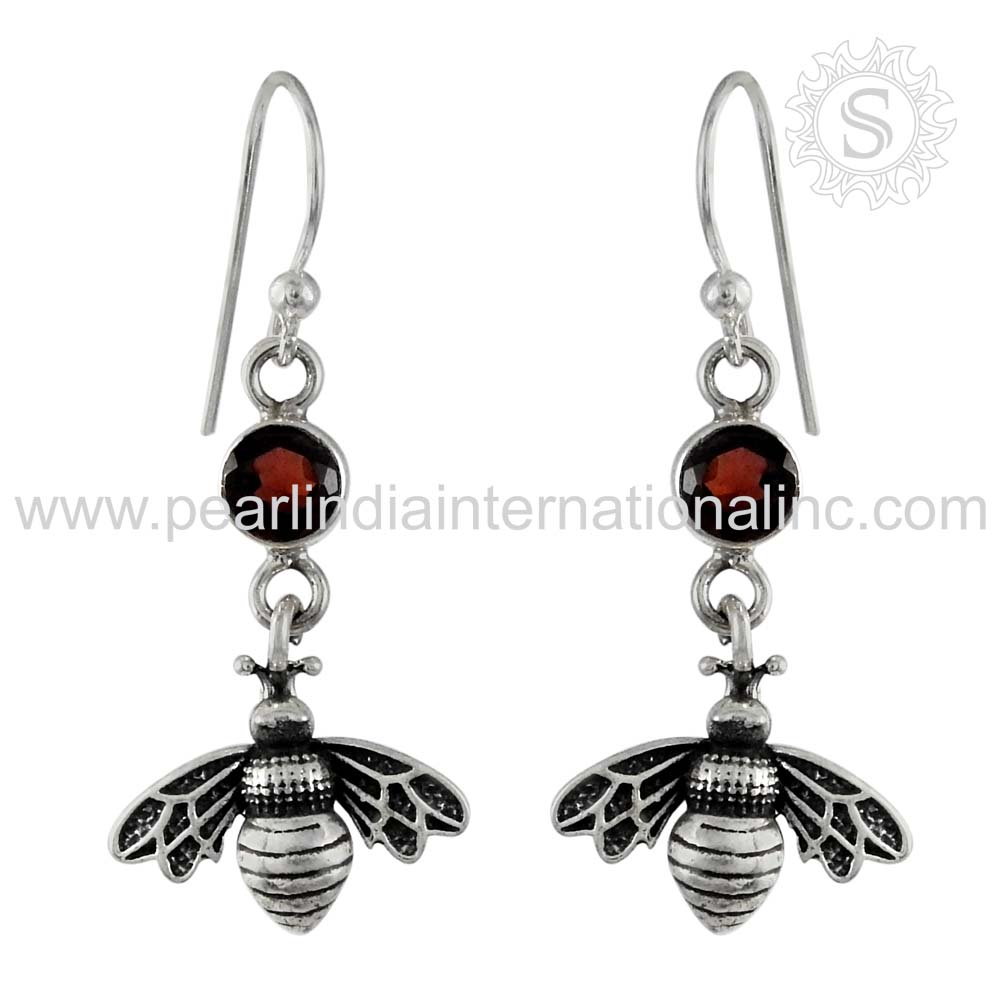 Big Leady Bug Earring With Garnet Gemstone Silver Jewellery 925 Sterling Silver Jewelry Wholesale Exporters